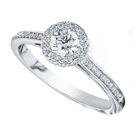 Platinum Diamond Infinity Halo Ring with Lux Shoulders