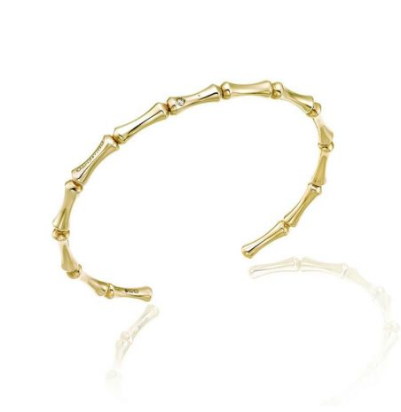 Yellow Gold Diamond Bamboo Bangle by Chimento