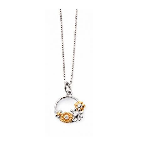 D For Diamond Flower Circle Necklace