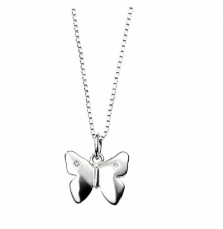D For Diamond Butterfly Silver Necklace
