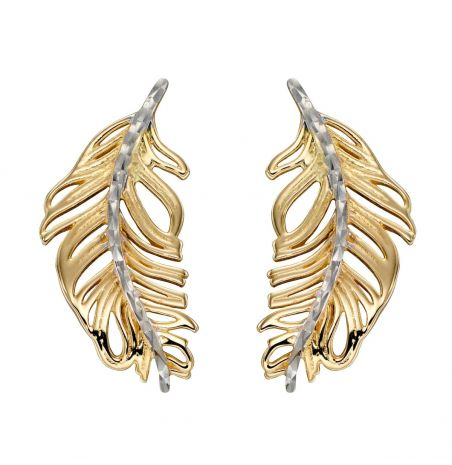 Elements Gold Feather Stud Earrings in 9ct Gold