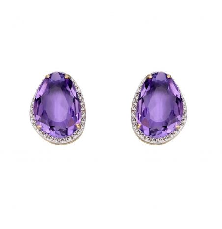 Elements Gold Amethyst And Diamond 9ct Gold Stud Earrings
