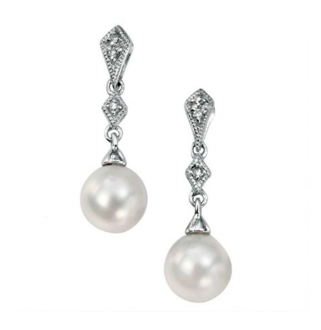 Elements Gold Freshwater Pearl and Diamond Drop Earrings