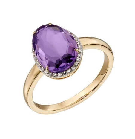 Elements Gold Amethyst and Diamond Gold Halo RIng