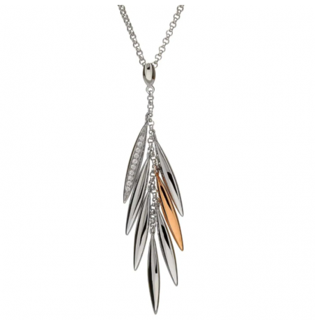 House of Lor Silver and Irish Rose Gold Cubic Zirconia Feather Necklace
