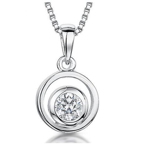 Jools By Jenny Brown Sterling Silver Circle Drop Cubic Zirconia Necklace