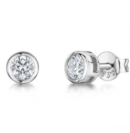 Jools By Jenny Brown Silver Round Cubic Zirconia Stud Earrings