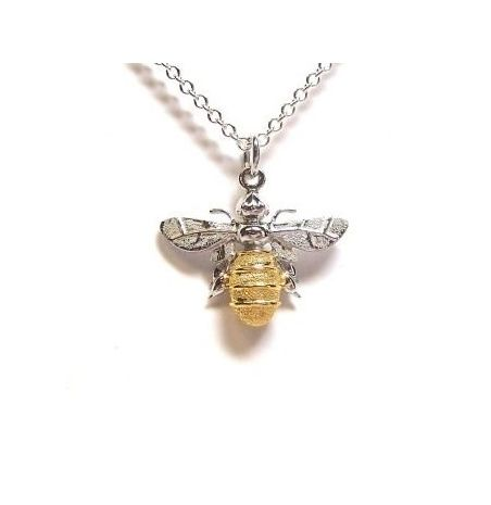 Lydia's Bees - Mini Bee Pendant – Sterling Silver & 9ct Yellow Gold Plated