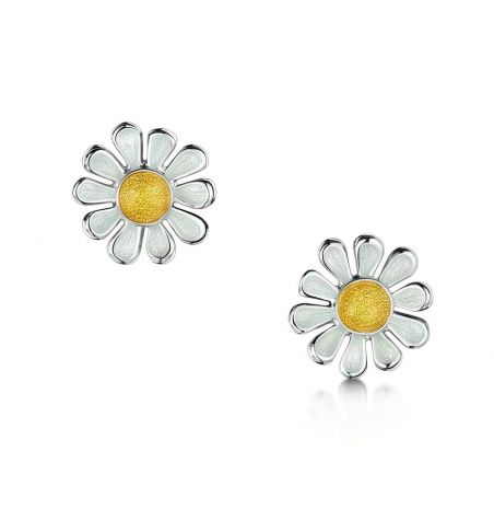 Sheila Fleet Daisies At Dawn Stud Earrings Sunshine Enamel