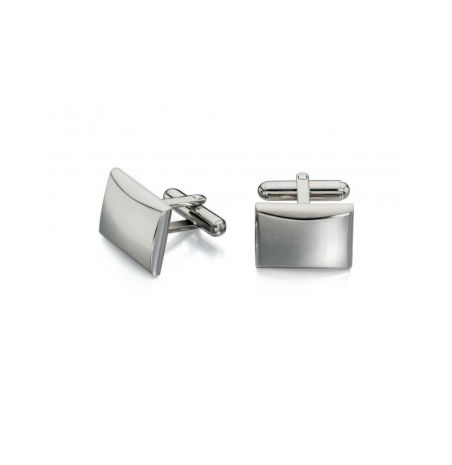 Fred Bennett brushed and polished stainless steel cufflinks